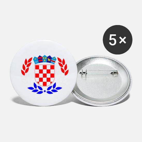 Croatia Buttons - Laurel wreath Croatia - Small Buttons white