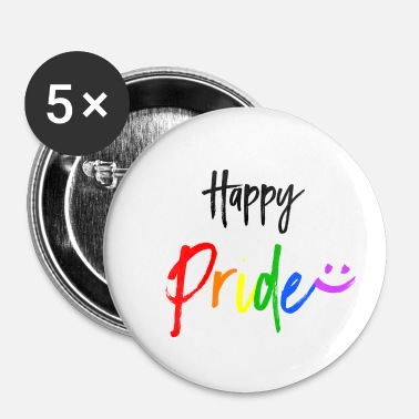 Pride Happy Pride LGBT Gay Pride - Buttons klein 25 mm (5-pack)