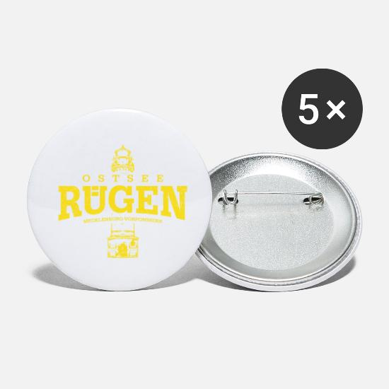 Vacation Buttons - Rügen Baltic Sea (yellow oldstyle) - Small Buttons white