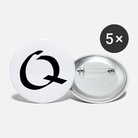 Gift Idea Buttons - Letter Q - calligraphy. Handwritten - Small Buttons white