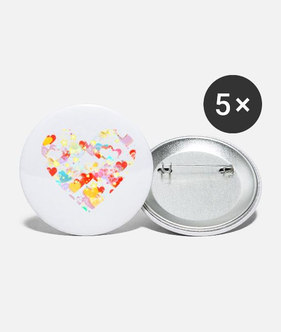 Love Buttons - Heart heart heart - Small Buttons white