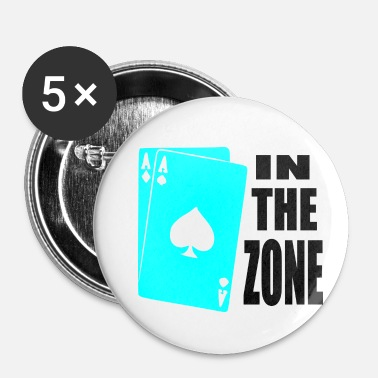 Bluff poker, azen, in de zone - Buttons klein 25 mm (5-pack)