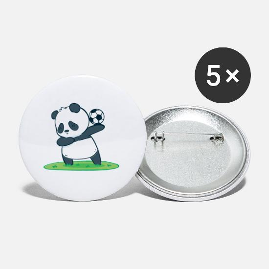 National Team Buttons - Funny Soccer Panda Soccer Player Kicker Ball - Small Buttons white