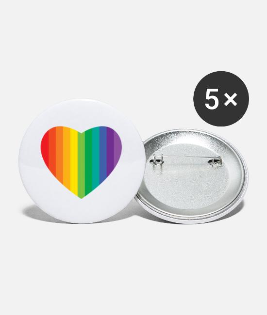 Gay Pride Buttons - heart - Small Buttons white
