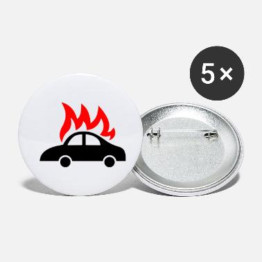Politique burning car - Small Buttons