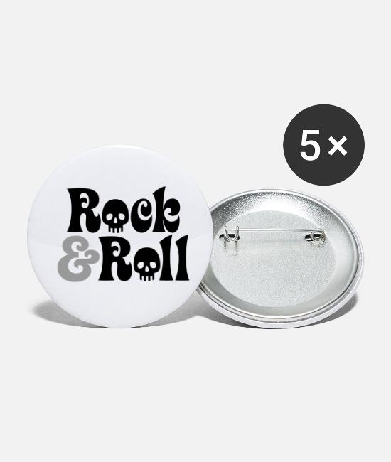 Hardrock Buttons - Rock & Roll | Rock and Roll | Skull | Totenkopf - Buttons klein wit