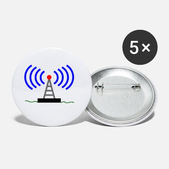Waves Buttons - Radio radio tower waves communication - Small Buttons white