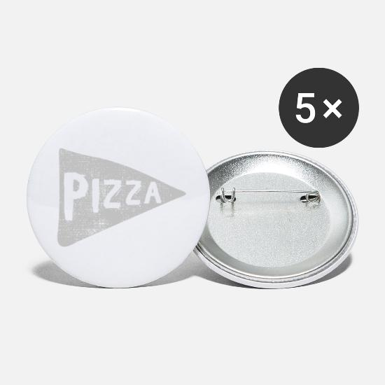 Pizza Buttons & Anstecker - Pizza - Buttons klein Weiß