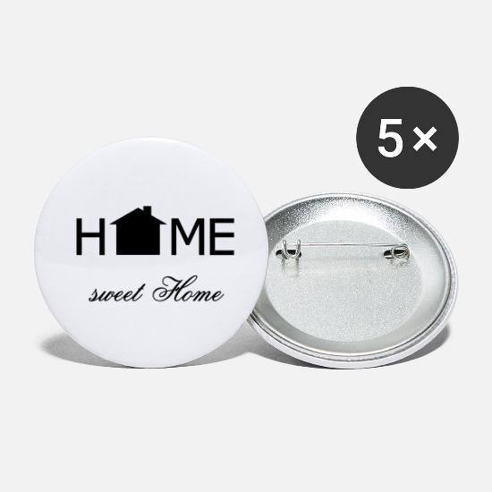 Sayings Buttons - Home sweet home black - Small Buttons white