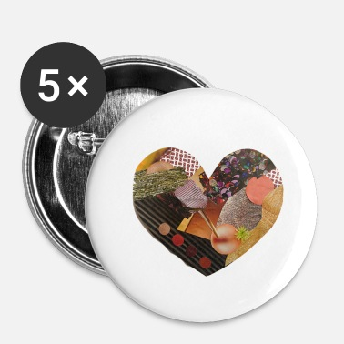 Art Graphique Coeur, art, graphique, textures, collage - Badge petit 25 mm