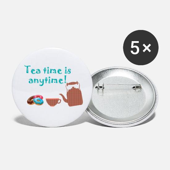 Tea Buttons - Tea teabag teacup green tea black tea gift - Small Buttons white