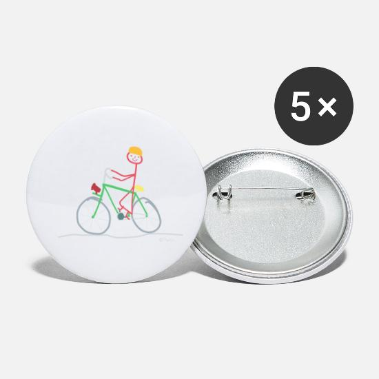 Enviromental Buttons - Bicycle stickman, mountain bike nature sport - Small Buttons white