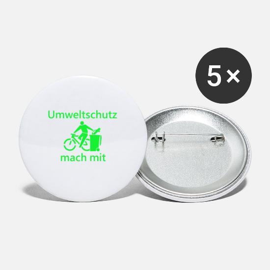 Bike Messenger Buttons - Bicycle, environmental protection, nature conservation, nature, animal welfare - Small Buttons white
