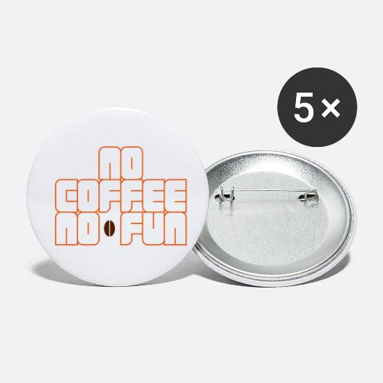Coffee Bean Buttons - No Coffee No Fun - Small Buttons white
