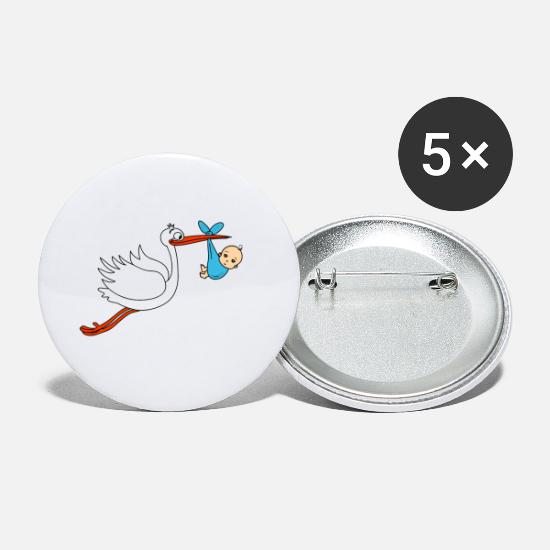 Mummy Buttons - Stork baby boy babies pregnant - Small Buttons white