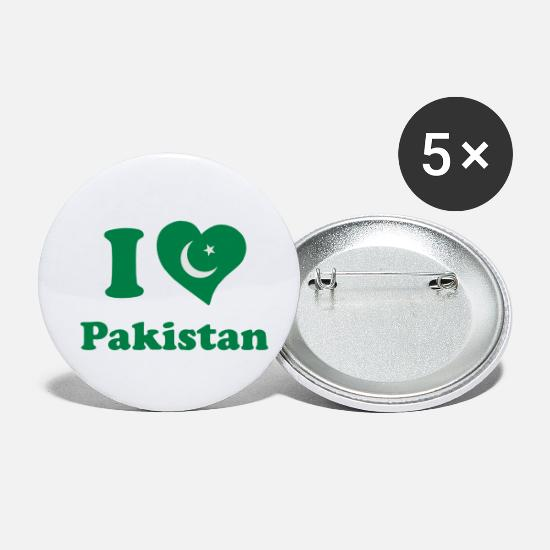 Flag Of Pakistan Buttons - I love Pakistan - Small Buttons white