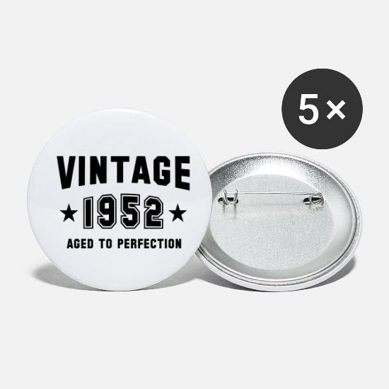 Gift Buttons & Anstecker - VINTAGE 1952 - Birthday - Aged To Perfection - Buttons klein Weiß