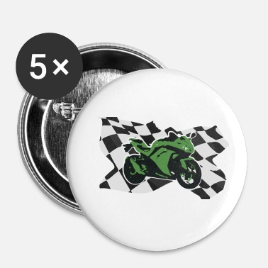 Motor Motorcycle Racing Green Motorcycle Gift Idea - Buttons klein 25 mm