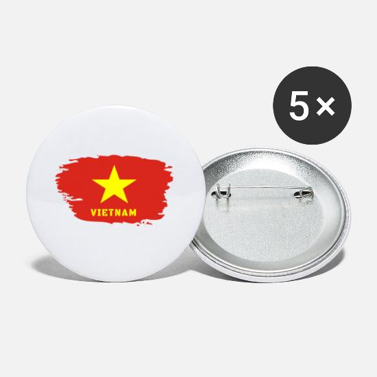 Ho Chi Minh City Buttons - Vietnam Flag / Gift Hanoi Asia Southeast Asia - Small Buttons white