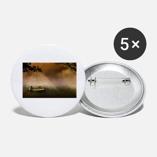 Fishing Buttons - fisherman - Small Buttons white