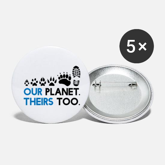 Animal Liberation Buttons & Anstecker - Animal Rights - Our Planet, theirs too - Buttons klein Weiß