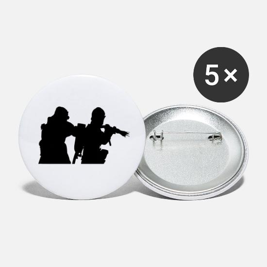 Fire Fighter Buttons - firefighter in action - Small Buttons white