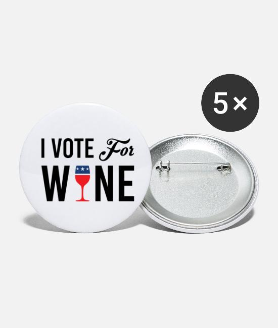 Vote Buttons - I Vote For Wine - Small Buttons white