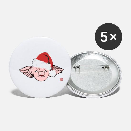 Love Buttons - Christmas with Santa Piggy - Small Buttons white