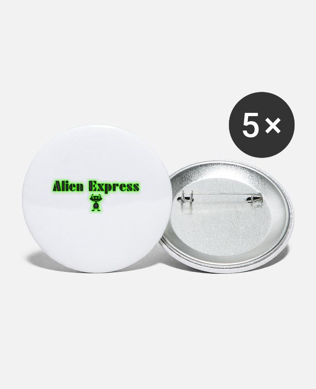 Alien Buttons & Anstecker - Alien Express - Buttons klein Weiß