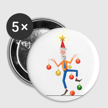 Merry Christmas Tree Man - Buttons small 25 mm