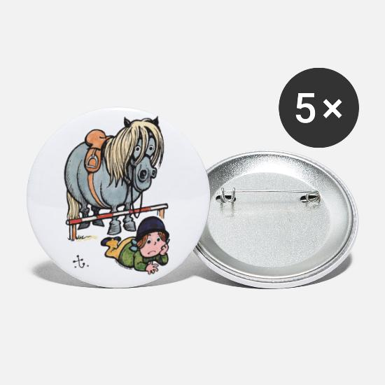 Officialbrands Buttons - Thelwell Funny Showjumping Gone Wrong - Small Buttons white