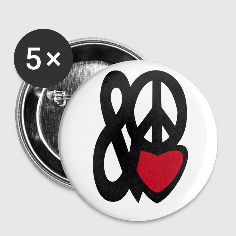 love and peace - Buttons klein 25 mm