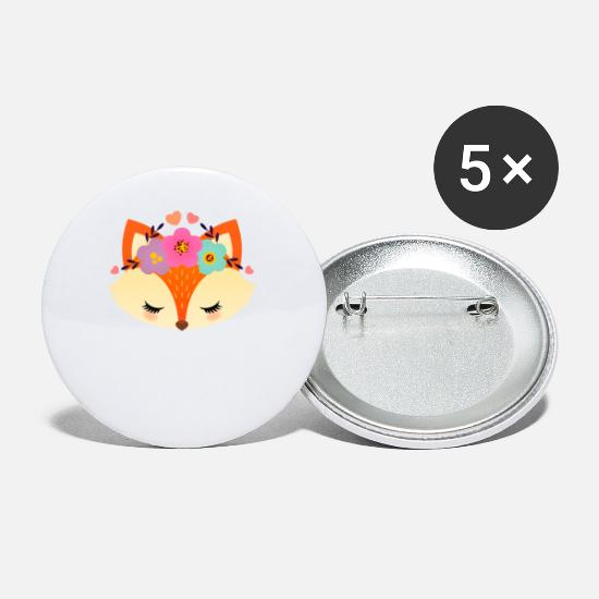 Cool Buttons - Cute Fox With Flowers - Small Buttons white