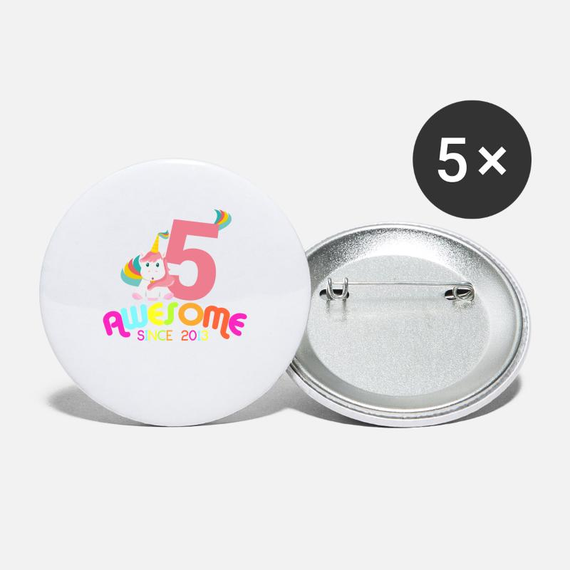 Birthday Buttons - Awesome Since 2013 Unicorn Birthday Gift - Small Buttons white