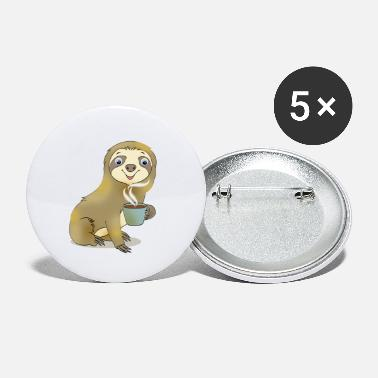 Sloth with Coffee Gift Cartoon Kawaii - Small Buttons