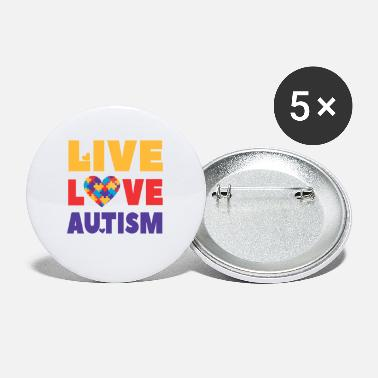 Autism Month Autism Awareness, Live Love Autism, teacher, month - Small Buttons