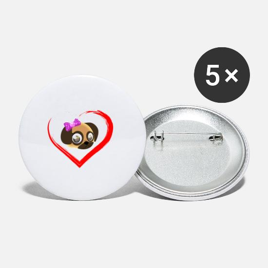 Love Buttons - I love my pug i love pug - Small Buttons white