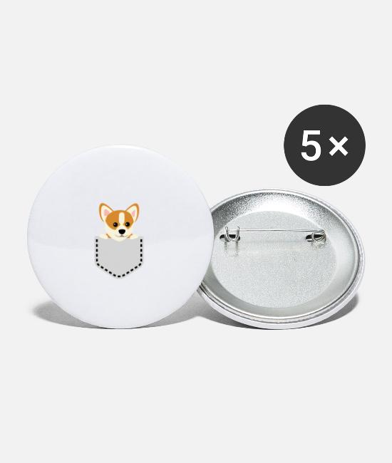 Dog Owner Buttons - Sweet dog looks out of his pocket - Small Buttons white