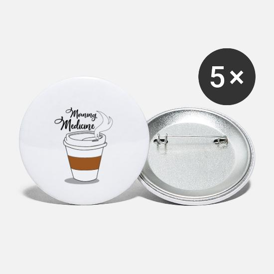 Gift Idea Buttons - Coffee - the morning medicine - Small Buttons white