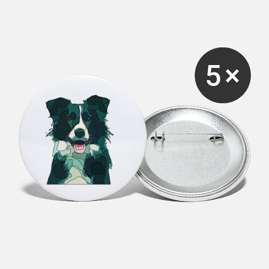 Dog Friend Buttons - border colli - Small Buttons white