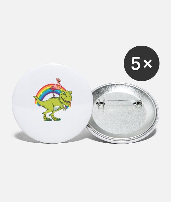 Birthday Buttons - Flamingo Rides On T-Rex Dinosaur Reward Gift - Small Buttons white