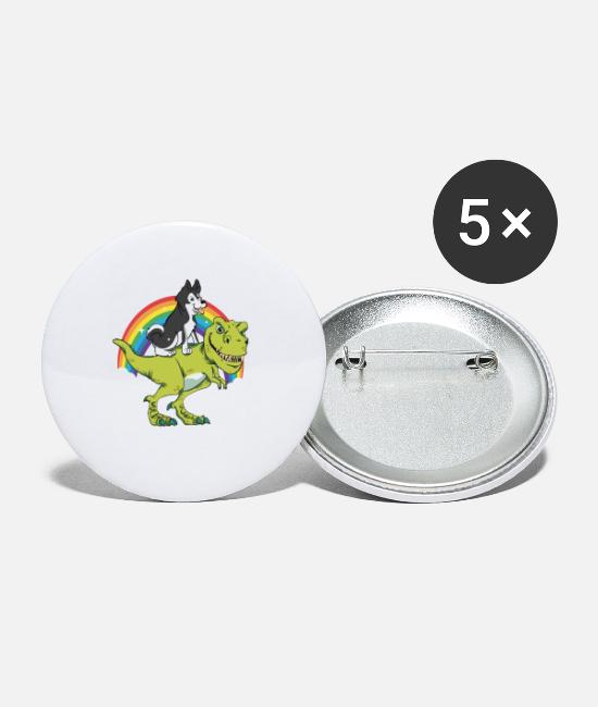 Birthday Buttons - Husky Dog Rides On T-Rex Dinosaur Reward Gift - Small Buttons white