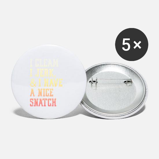 Gift Idea Buttons - I brush, I jerk & I have a nice snatch - Small Buttons white