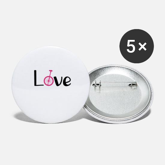 Love Buttons - Unicycle Love Love Pink - unicycling - Small Buttons white