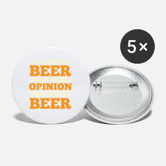 Funny Buttons - Funny beer Gift your opinion Beer garden - Small Buttons white