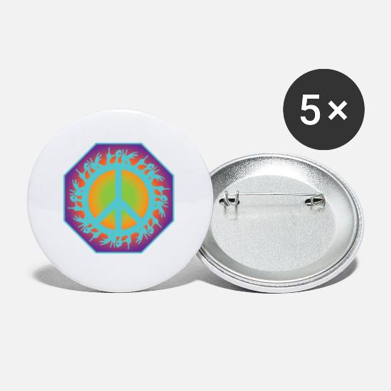 Love Buttons - Peace Peace Peace Sign Love - Small Buttons white