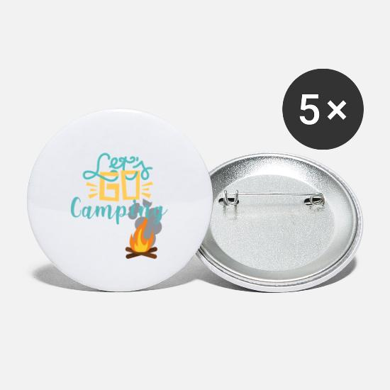 Road Trip Buttons - Let's Go Camping Campfire and Campouts - Small Buttons white