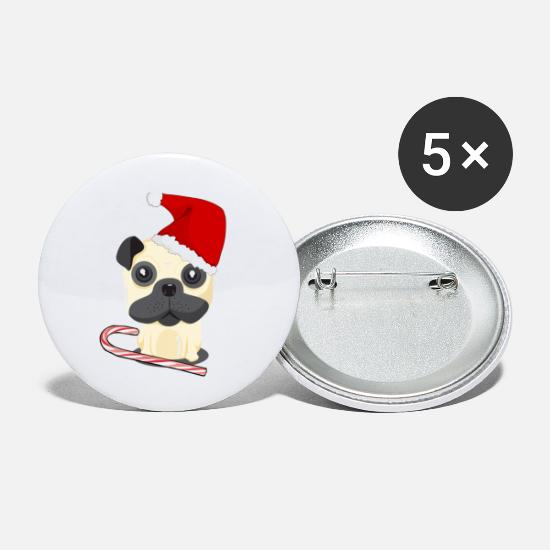 Jul Buttons & badges - Julehunde med santa hat og candy cane - Små buttons hvid