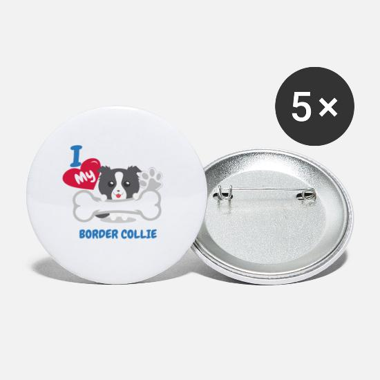 Border Collie Buttons - BORDER COLLIE - I Love My BORDER COLLIE Gift - Small Buttons white