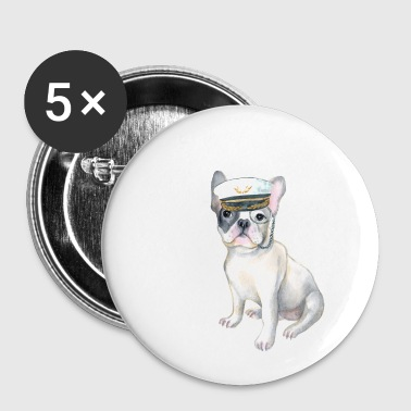 Bulldog Frenchie French Bulldog monocle Captains Hat Dogs In Clothes - Buttons small 25 mm